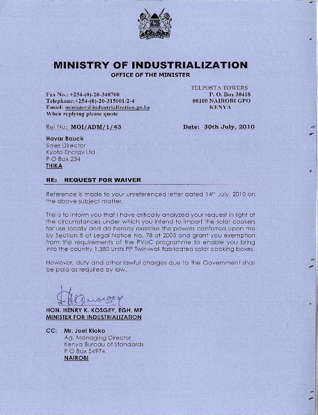 Waiver from Kosgey small