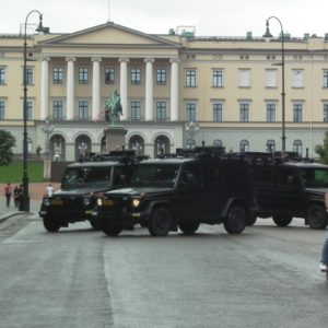 Oslo the day after Anders Behring Breivik attacked. Military vehicles in front of the Royal Castle