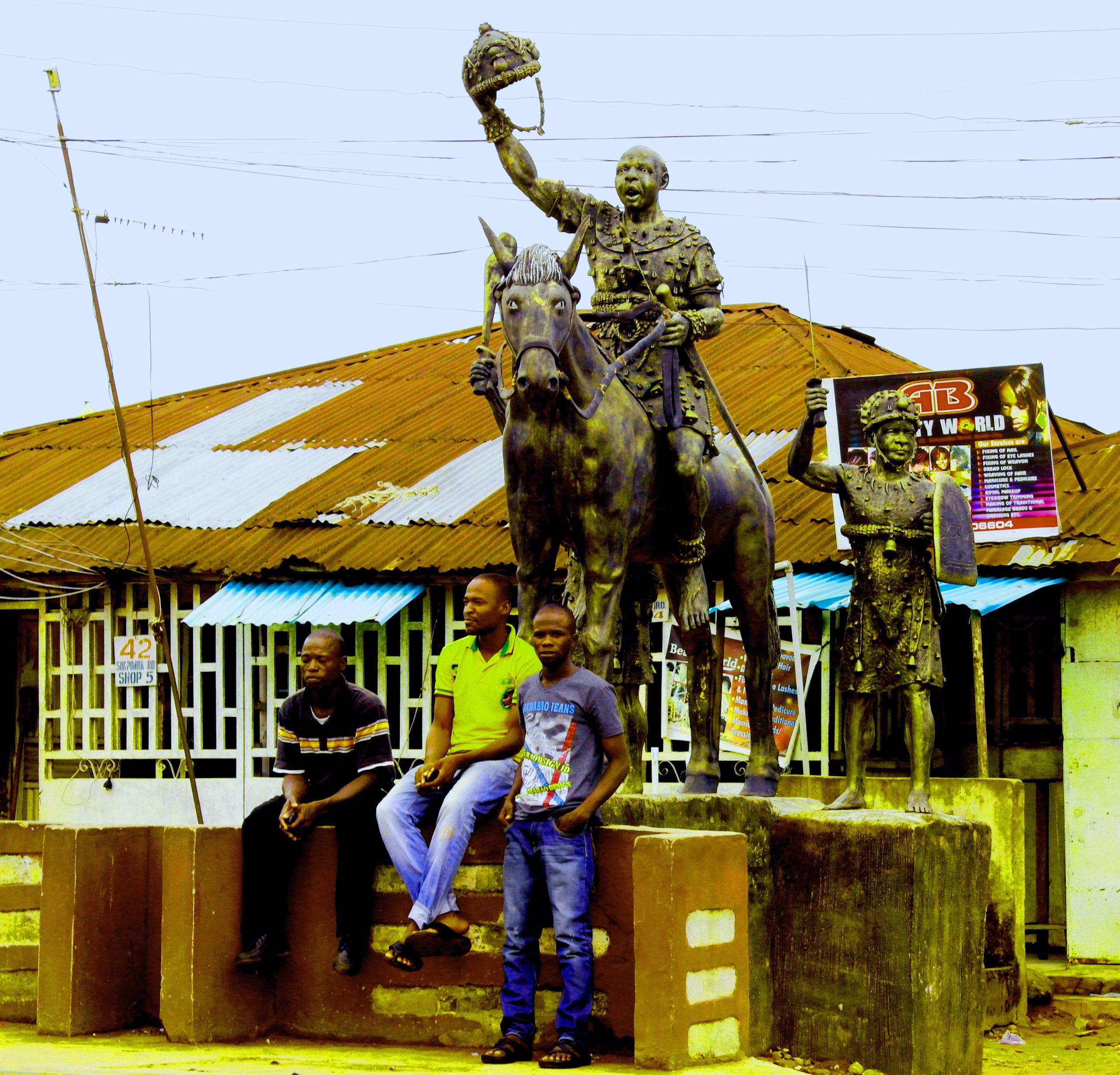 A bronze statue in Benin City