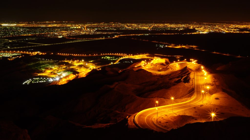 Descending from Jebel Hafeet at night. This winding Jebel Hafeet road in Al Ain has been named as one of the world's most scenic, and that is during daytime! This is what it looks like at night!