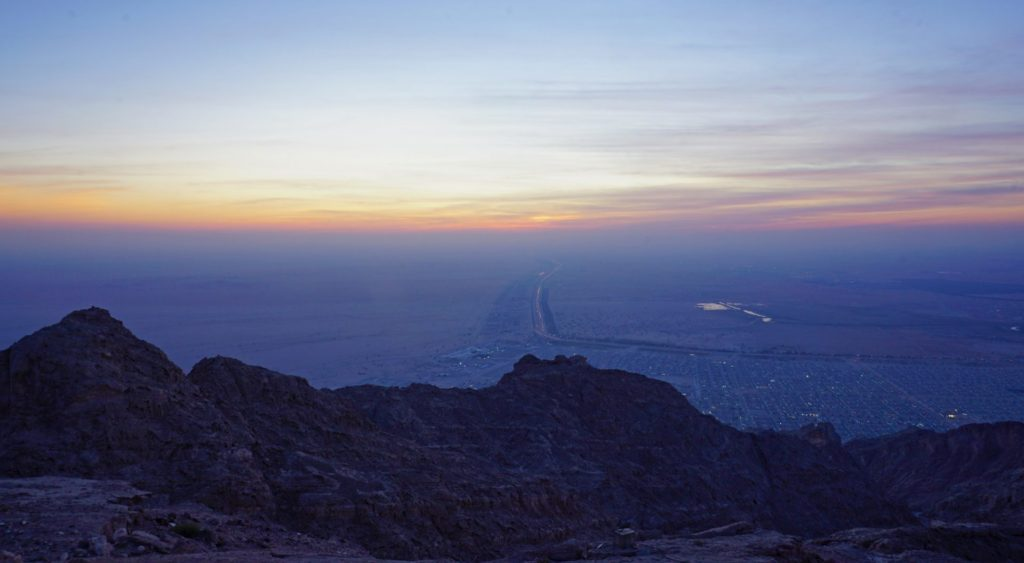 Late sunset over Al Ain from Jebel Hafeet