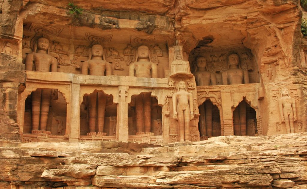 Gopachal Parvat, below the Gwalior Fort.  An impressive group of Jain monuments, carved between the 7th and 15th century