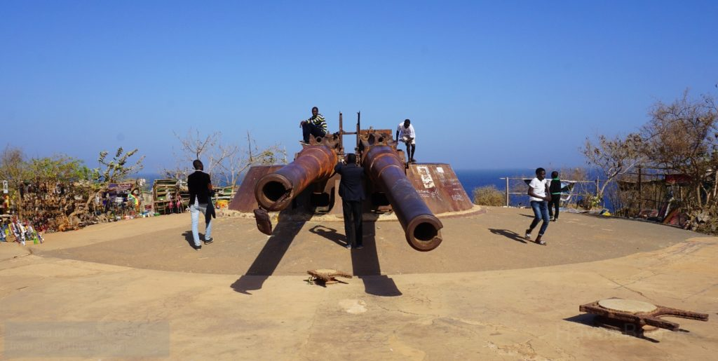"Les Canons de Navaronne - the giant cannons of Ile de Goree. While several scenes in the 1961 blockbuster ""Guns of Navarone"" was actually shot here, these particular cannons did not feature in the movie"