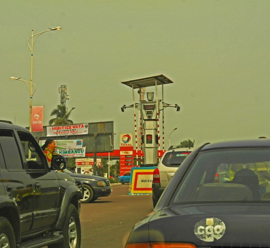 Kinshasa - traffic police robot. One of the most written-about features of the roads in the Congolese capital