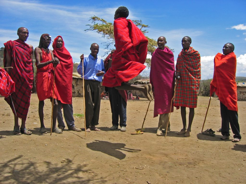 Maasais dancing in a village in Hell's Gate National Park