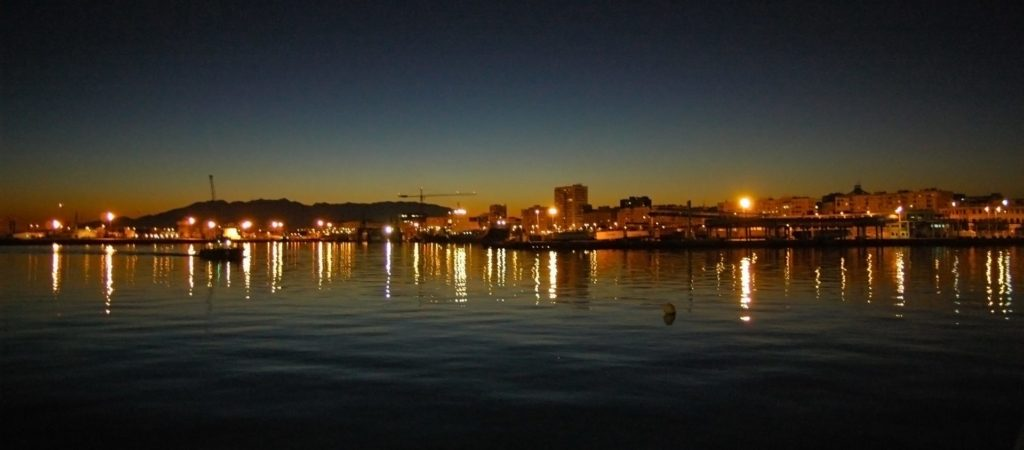 Malaga - waterfront by night