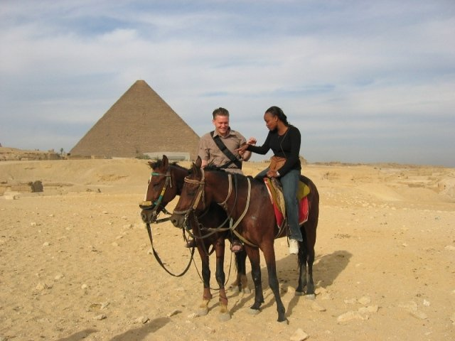 Beatrice and me by the Giza Pyramids