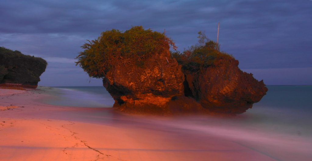 Rock at Leopard Beach by night