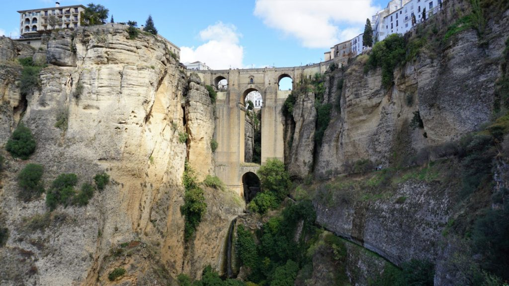 The famous Puente Nuevo of Ronda.  While the town is worth a visit for many reasons, this bridge is the postcard attracttion of Ronda