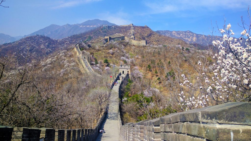The Great Wall of China, in Mutianyu.  Beautiful wall, bu they didn't get the Mongols to pay for it..