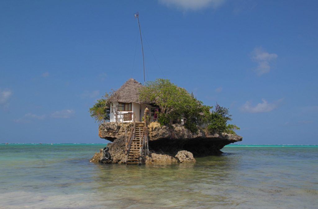 The Rock restaurant in Michamvi, Zanzibar. One of the most iconic restaurants in Africa, and a must-visit for any traveler