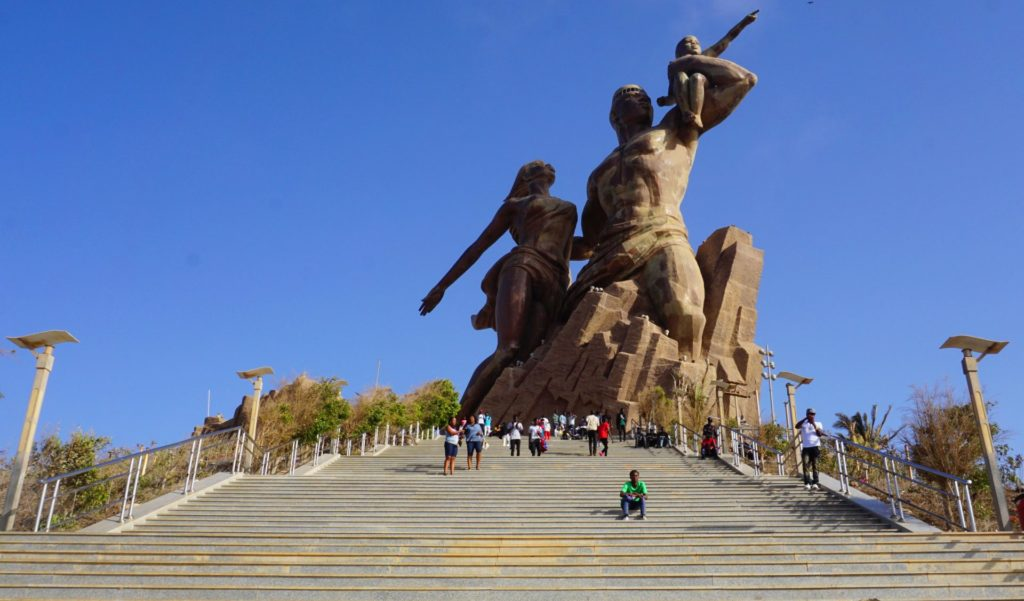 The African Renaissance Monument - a hallmark of Dakar. Built by North Koreans, and generally resented by the Senegalese as a symbol of the excesses of former president Abdoulaye Wade, this giant is nevertheless one the most iconic features of Senegal