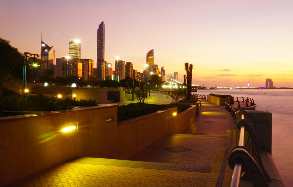 Sunset on the Corniche in Abu Dhabi