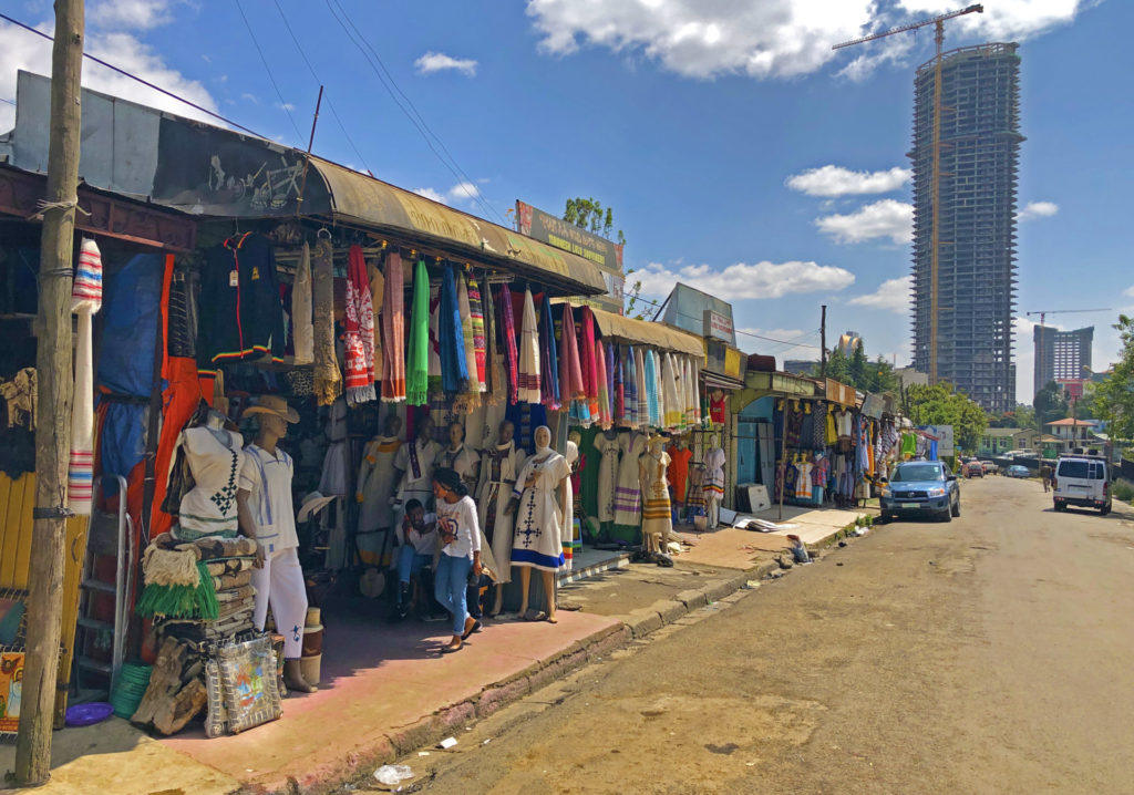 Addis Ababa – Souvenir stalls behind the Post Office.  The surroundings of the Main Post Office area has long been the go-to place for souvenir shopping in Addis Ababa.