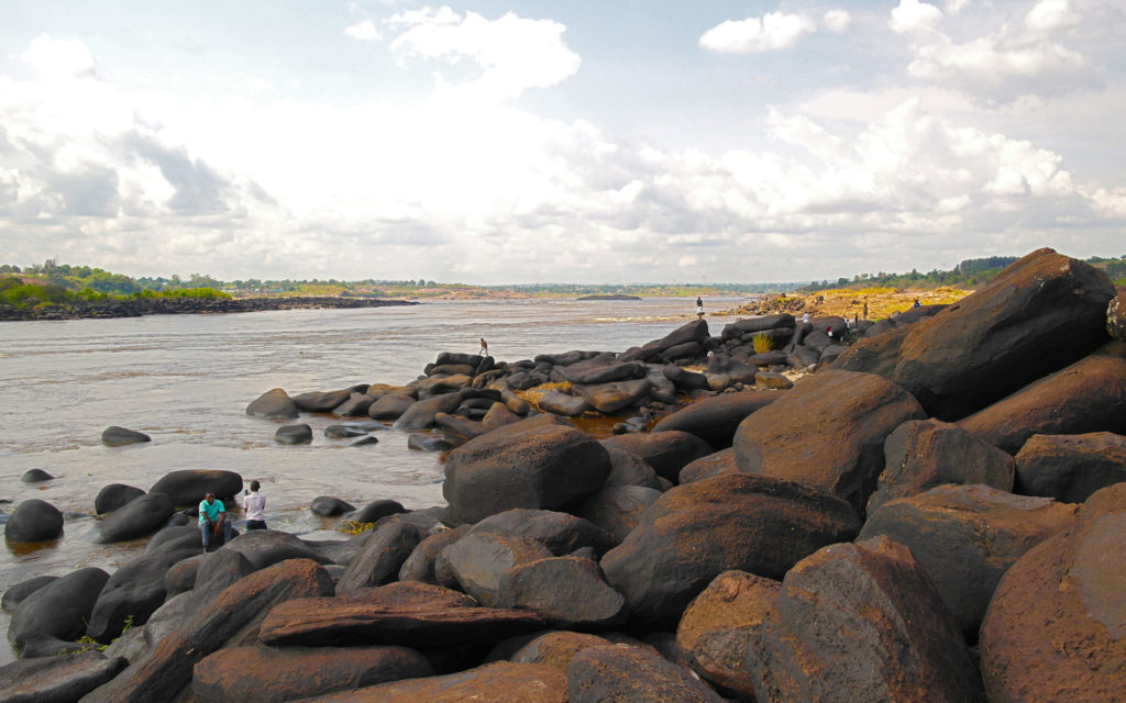 Mbudi Nature, in the outskirts of Kinshasa. This amassment of boulders at the banks of the Congo River is a popular local attraction