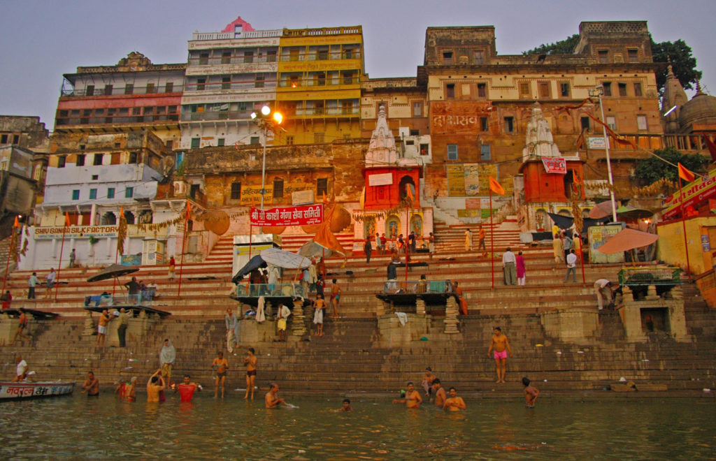 Varanasi - Morning bathers in the Ganga River