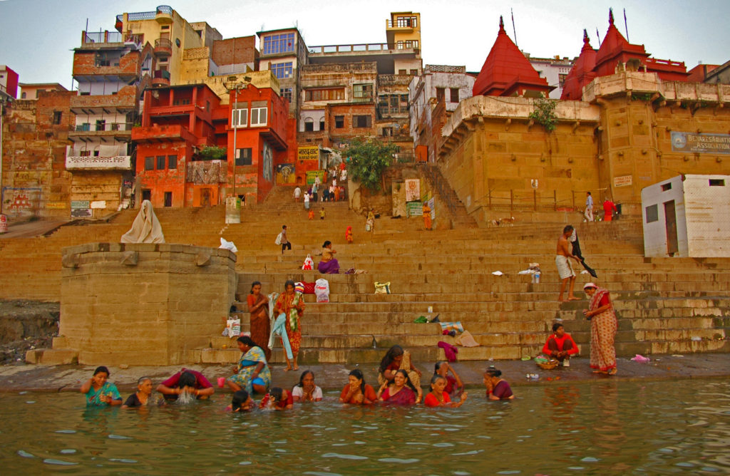 Varanasi - Women taking a morning bath in the Ganga River