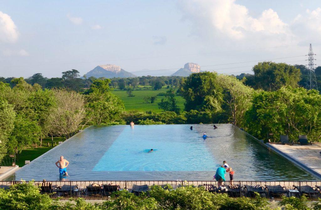 Aliya Resort and Spa - Swimming Pool with the Sigiriya Rock in the Background