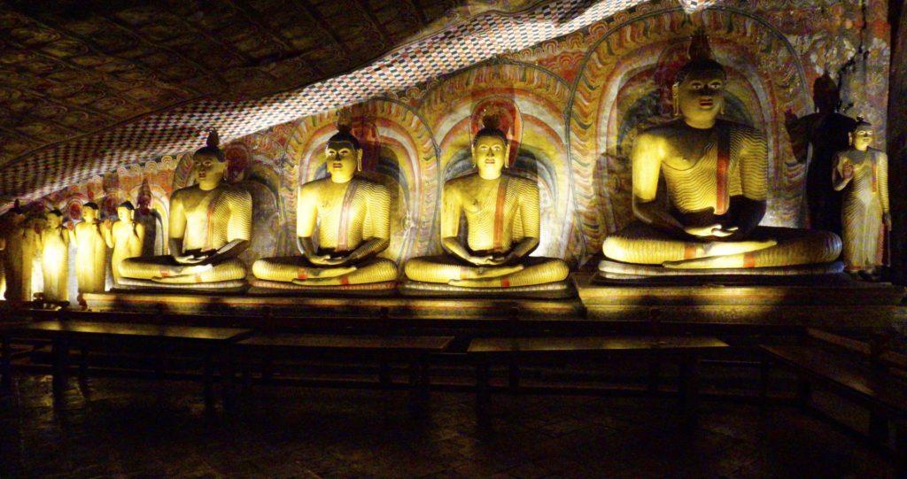Dambulla - The Rock Temple - 4 Sitting Buddhas