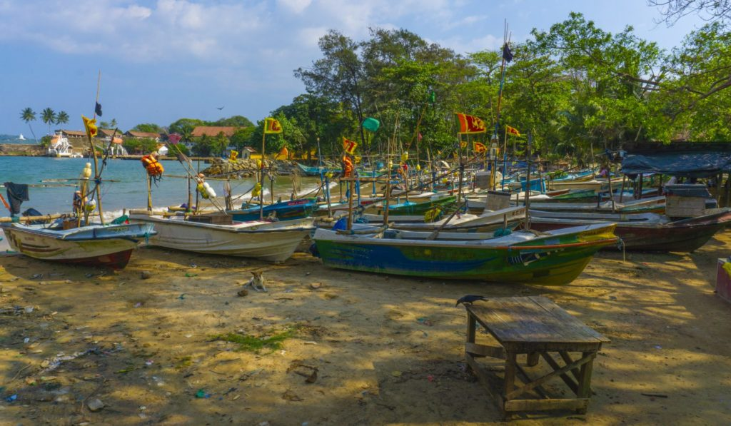 Galle - Fishing Boats at a beach near the Old Town