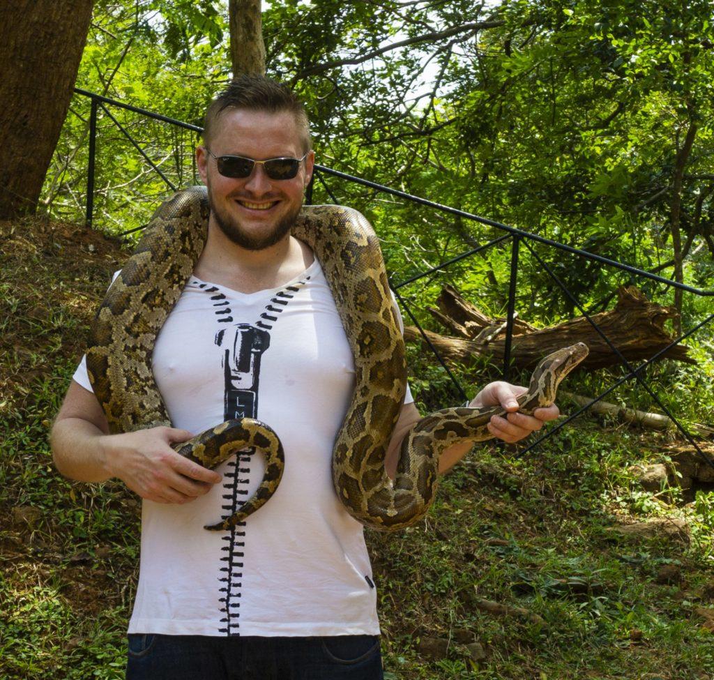 Me with a Python Snake in Sigiriya, Sri Lanka