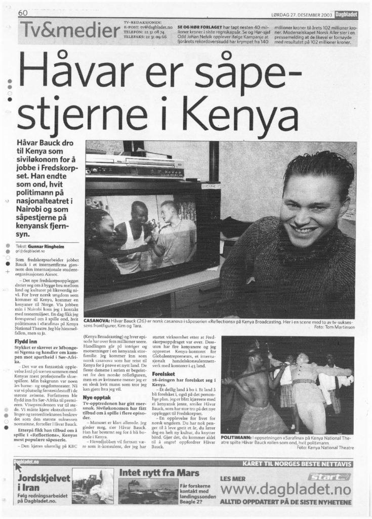 20031227 Håvar er såpestjerne i Kenya