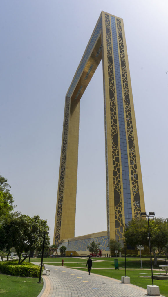 "The Dubai Frame, Dubai's most recent 150 meter landmark. Referred to as ""the biggest picture frame in the world"", this building is situated inbetween ""old"" and ""new"" Dubai, and offers a small permanent expo of the past and the future of the city."