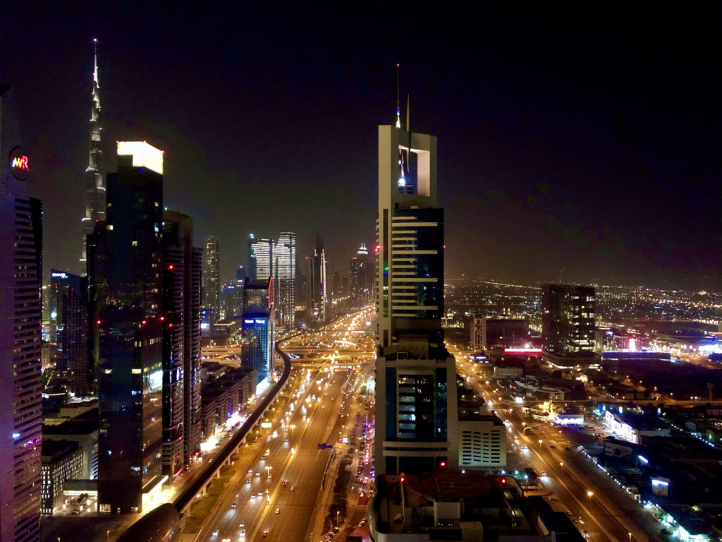 Dubai Sheikh Zayed Road by Night