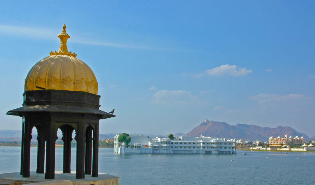 Udaipur – The Lake Palace with the Monsoon Palace on a mountain top in the background